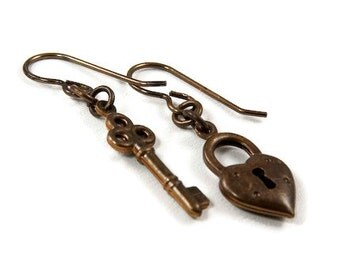 Heart and Key Natural Brass Earrings