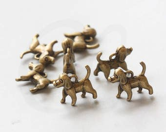 6 Pieces Antique Brass Tone Base Metal Charms-Dog 15.8x15.2mm (35708Y-V-7)
