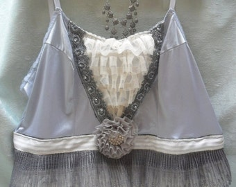 Holiday Sale 30% Off TUNIC Top Tank Cami Boho Romantic Altered Clothing Fairylike - Tunic - Gray and Ivory