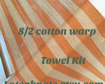 Orange Striped Weaving Kit-Handmade-Handwoven-Weaving-Craft Supplies-Cotton-4 towels