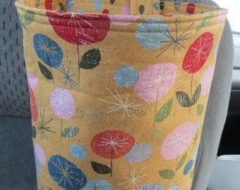 Trash Bin, Car Trash Bag, Cute Car Accessories, Headrest Bag, Trash Container, Circle Flowers on Gold