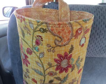 Trash Bin, Car Trash Bag, Cute Car Accessories, Headrest Bag, Trash Container, Flowers and Paisley