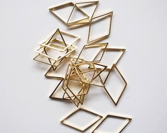10 pieces of newly made cut raw brass tube outline charm in rhombus diamond geometric shape 12x30x1.5mm plated with 24k gold
