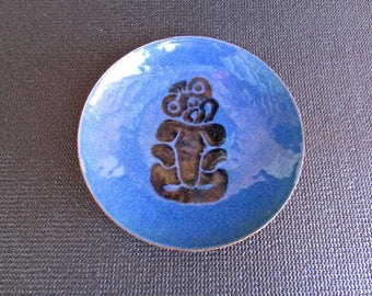 Blue Enamel Copper Plate w/ Totem Monkey, Mid Century Modern Arts & Crafts Movement