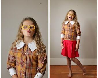 NOS, 1950s Plaid School Girl Dress >>> Girls Size 10 to Slim 12