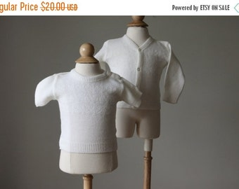 ON SALE 1970s Nautical Knit Cardigan & Sweater Set >>> Size 6 Months