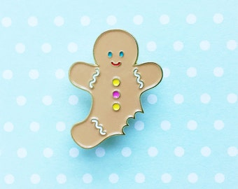 Gingerbread Man Enamel Pin - cute holiday christmas cookie lapel gift