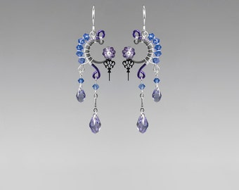 Blue Swarovski Crystal Steampunk Earrings, Purple Swarovski, Crystal Earrings, Watch Parts, Wire Wrapped, Youniquely Chic, Amphitrite II v14