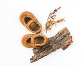 Camel Tan Mary Jane Moccs Soft Soled Leather Shoes Baby and Toddler