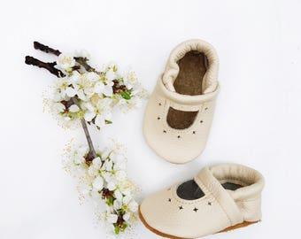 Cream STARRY JANES  Soft Soled Leather Shoes Baby and Toddler