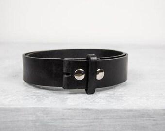 "Handmade Black Leather Belt - 1.5"" Snap Belt"
