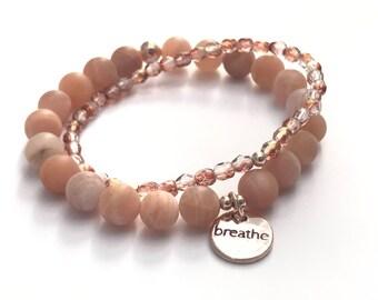 breath charm mala stack sunstone bracelets , set of bracelets, peach beaded bracelets, charm bracelet, yoga bracelet, breathe charm bracelet