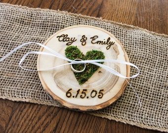 Rustic Woodburned Ring Bearer Wood Slice - Ring Pillow - Ring Box - Anniversary gift - Rustic Wedding Ring Holder - Customized Ring Pillow