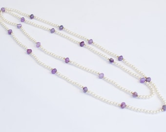 Plastic Vintage Purple Bead and Pearl Necklace