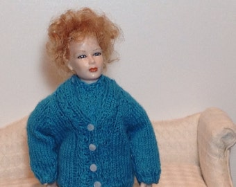 Miniature Doll Hand Knit Cardigan and Short-Sleeve Jumper in 1:12 Scale