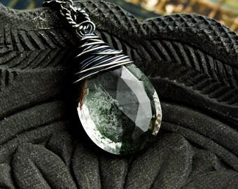 Terrarium Jewelry, Terrarium Necklace, Garden Quartz, Moss Green, Woodland, Forest Green, Gemstone Pendant, Wire Wrapped, PoleStar