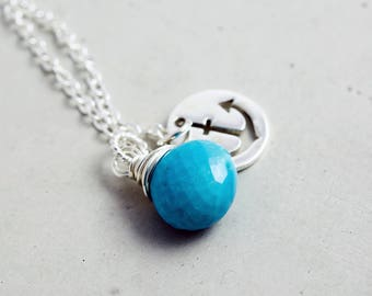 Turquoise Necklace With Anchor Charm, Sterling Silver Anchor Charm Necklace. December Birthstone Pendant