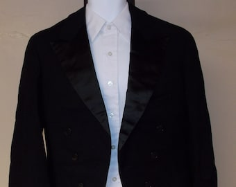 1930/40s vintage black wool tuxedo jacket with tails lined 40/42