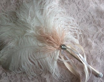 Blush and White  Ostrich Feather Fan with Ribbons for Vintage Great Gatsby, 20s weddings
