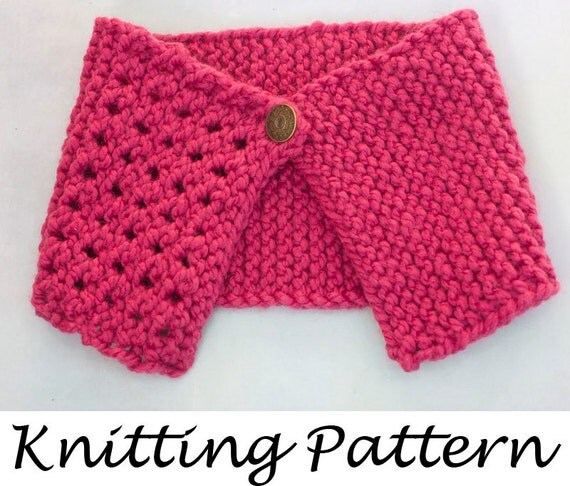 Knitting Easy Pattern Scarf Neck Warmer : Easy Neck Warmer Knitting Pattern, Buttoned Scarf, Instant Download, PDF Patt...