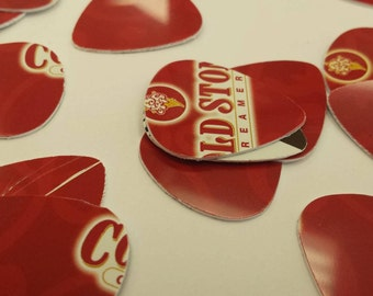 Set of 10 Upcycled guitar picks made from coldstone gift card