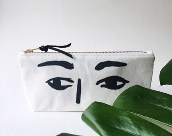 Eyes Pouch  // illustrated pouch // small pencil case // makeup bag // gift for her under 30 // unique gift