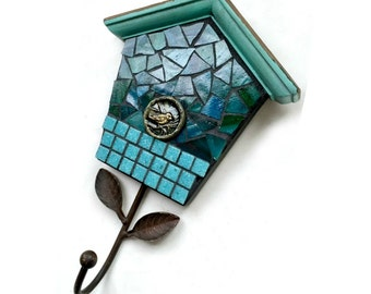 Bird House Mosaic Wall Hook, Teal Blue Aqua Mosaic Hook, Mosaic Bird House Decorative Hook, Teal Bird Wall Hanging Hook, Multi Media Hook