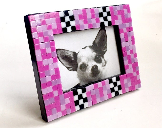 Pink Black Mosaic Tile Frame, Small Photo Frame, Pink Check Mosaic Frame, Mini Tile Mosaic Frame, Hot Pink Black White Mosaic Frame
