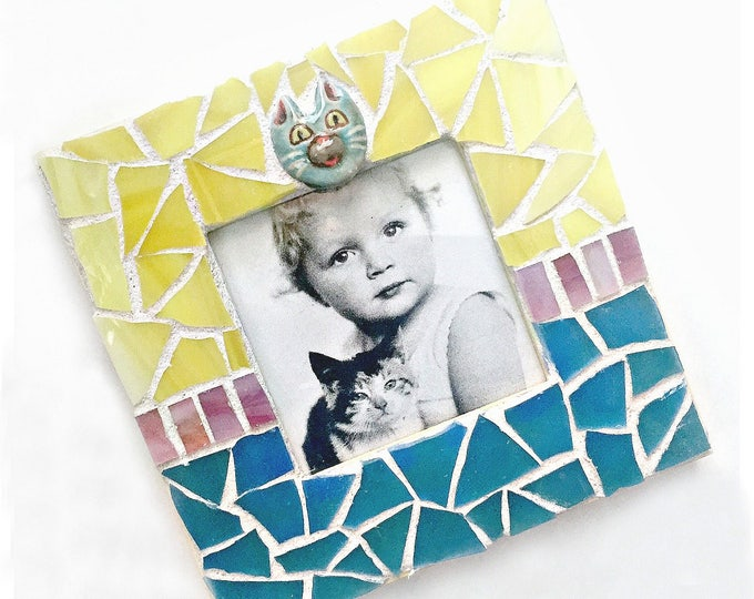 Mosaic Cat Frame, Embellished Mosaic Picture Frame, Yellow Blue Pink Square Frame, Pet Frame, Blue Yellow Cat Mosaic Frame, Pet Lover Frame