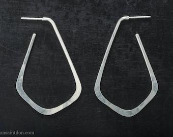 3 point Geometric Hoop Earrings- Shiny