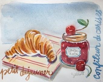 Original  watercolor Petit Dejeuner #PD 1