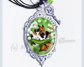 Calico Cat Necklace // Calico Cat Cameo // Lily Bells