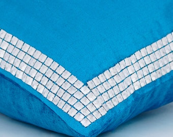 """Luxury Blue Decorative Cushion Covers, 16""""x16"""" Velvet Pillowcase, Square Royal Blue with 3D Sequins Pillow Cover - Silver Studded Blue"""
