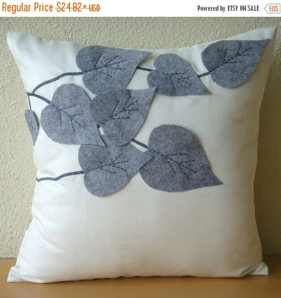 "15% HOLIDAY SALE White Decorative Pillows Cover,  Square  Leaf Felt Applique Tropical Theme 16""x16"" Faux Suede Throw Pillows Cover - Winter"