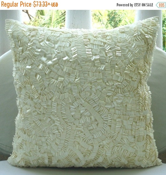 15% HOLIDAY SALE Decorative Pillow Sham Covers Accent Pillow Couch Pillow 24 Inch Silk Pillow Ivory Satin Ribbon Embroidered Ivory Elegance