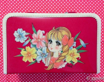 Vintage Japan Retro Cute Ayumi Uyama Style Anime Girl Purse Case in Red n Cream with Mirror