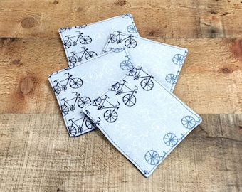 Coasters With Bicycles, Blue Cyclist Cup Pads, Fabric Drink Coasters, Cloth  Coasters,