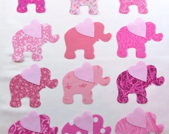 Set of 12 Pink Elephant w/Heart Ears Iron-on Fabric Appliques for Quilts & Clothing