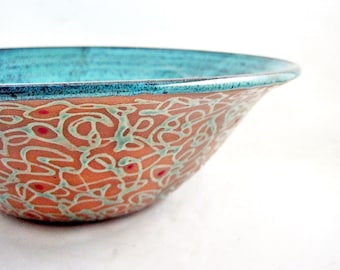 Large serving bowl, pottery bowl, Modern ceramics, blue wedding gift - Made to order