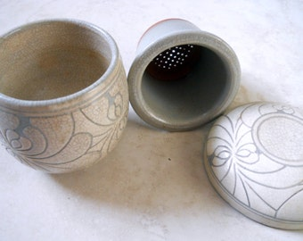 Pottery Tea Infuser Cup and Strainer-Stoneware Art Tea Cup- Ceramic Loose Tea Mug Gift Set- Clay Glazed Cement Color Hand Painted Scrolled
