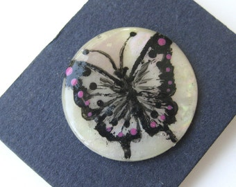 Vintage Mother of Pearl Shell Button - Hand Painted Butterfly in Black and Pink / Butterfly Button