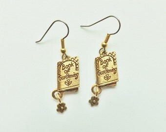 Gardening Book Charm Earrings gold plated pewter charms USA-made lead-free