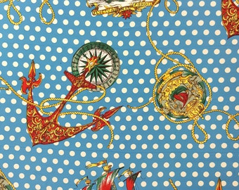 "Original 1980s Vintage Polyester Fabric HUGE Nautical Maritime Sailor prints (retro, mod, 80s, polkadot) BTY x 44.5"" wide"