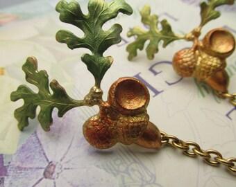Acorn Collar chains Cardigan clips collar clips Gold sweater guard acorns cardigan clips
