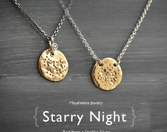 Starry Night -Textured Brass Disc Tag Necklace