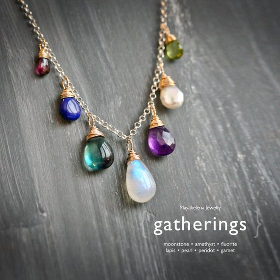 Rainbow Gatherings - Moonstone Fluorite Lapis Chalcedony Peridot Amethyst Pearl and Garnet Wire Wrapped Mixed Metal Necklace