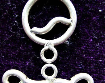CLASP, STERLING, Silver, Peace,1 Strand, Heavyweight, Toggle, Closure, Large
