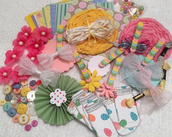 SPRING COLORS Inspiration Kit, Mixed Media Supply, Scrapbook Embellishment, Holiday Crafting, Handmade and Commercial Supplies, Cards, Tags