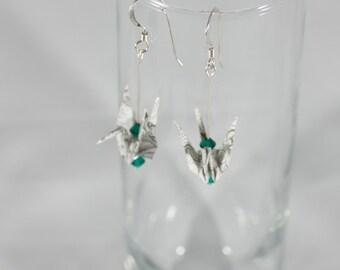Black & White Origami Crane Earrings, Crane Earrings, Origami Earrings, Origami Bird Earrings, Origami Jewelry, Fashion Earrings