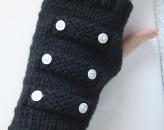 Black Friday sale Knit Gloves for Women, Black Knit Fingerless Gloves, Knit Wrist Warmers Black w Buttons, Ready to Ship